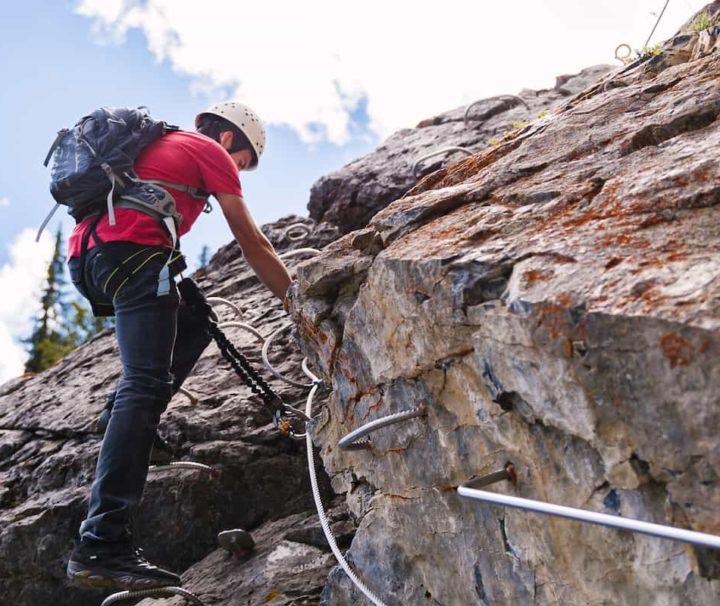 Experience guided alpine climbing on the Mount Norquay Via Ferrata Explorer Route