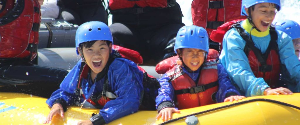Children love the Kananaskis River rapids with Chinook Rafting in the Canadian Rockies