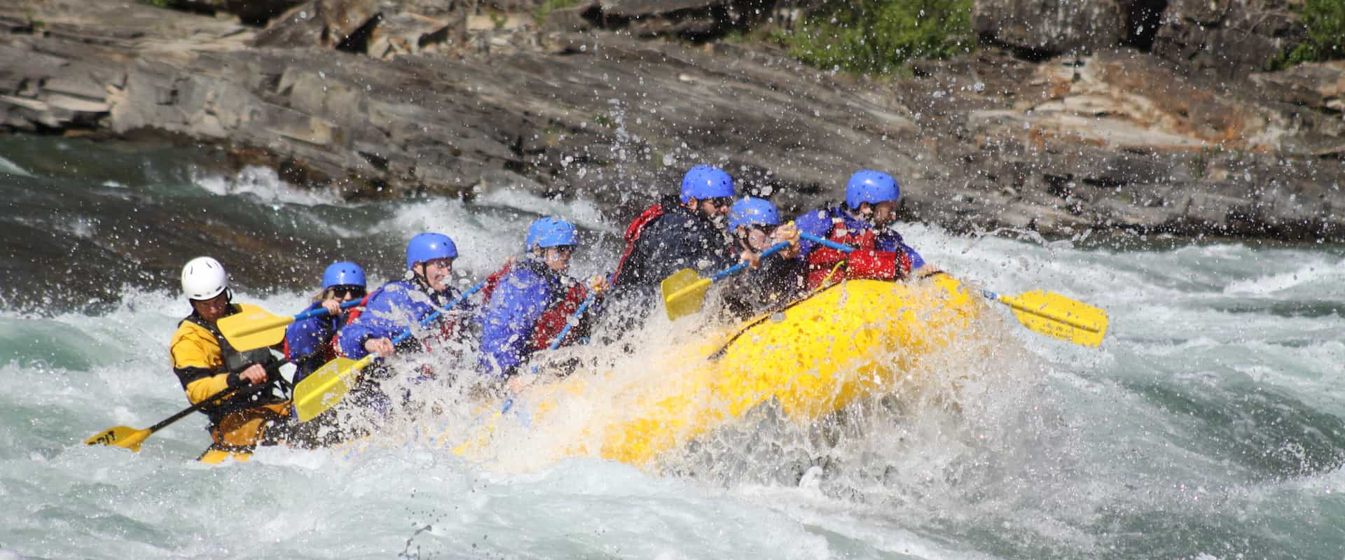 Class 4 rapids on the Horseshoe Canyon section of the Bow River with Chinook Rafting in the Canadian Rockies