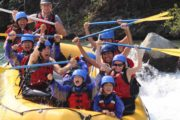 Family day out with the children on the Kananaskis River with Chinook Rafting in the Canadian Rockies