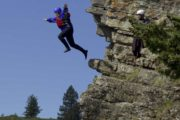 Jump into the Bow River on the Horseshoe Canyon rafting tour with Chinook Rafting