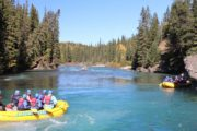 Scenic float section along the Kananaskis River with Chinook Rafting in the Canadian Rockies