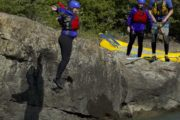 Try a cliff jump on the Horseshoe Canyon rafting tour with Chinook Rafting